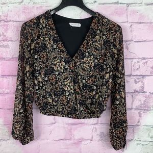 All in favor floral print faux wrap front medium